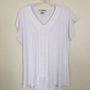 White Top With Lace Detail Size Large NWOT